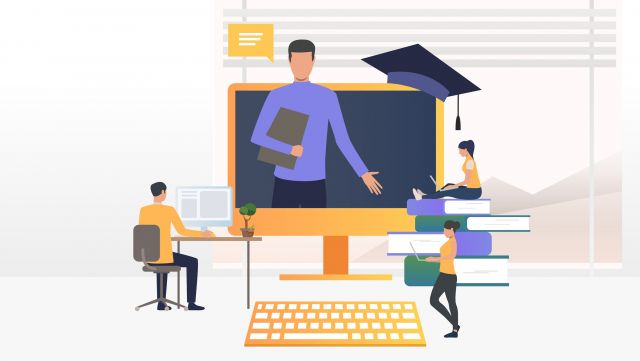 People using computers and studying at online school